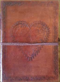 "5"" x 7"" Heart leather blank book w/cord"
