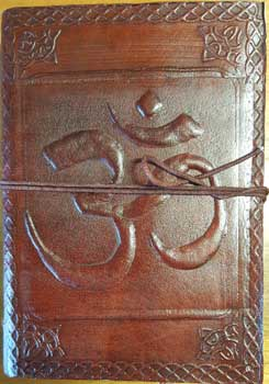 "5"" x 7"" Om leather blank book w/ cord"