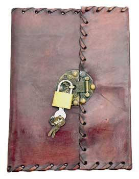 Stitched leather blank book w/ key