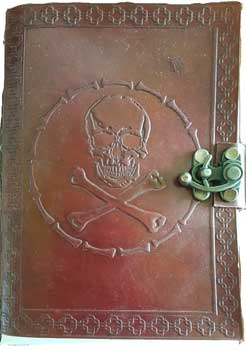 "5"" x 7"" Skull & Bones leather blank book w/ latch"