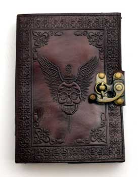 Skull with Wings leather blank book w/ latch