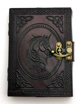 Unicorn leather blank book w/ latch