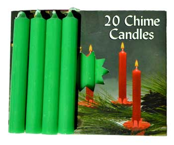 "3/8"" Emerald Green Chime candle 20 pack"