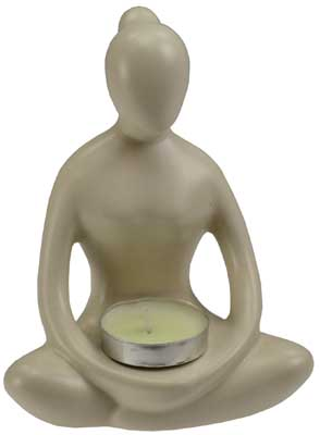 White Yoga Lady tealight