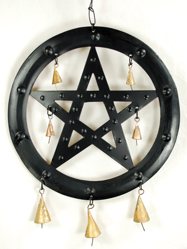 "9 1/2"" Black Pentagram chime"