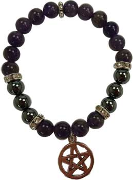 8mm Amethyst/ Hematite with Pentagram