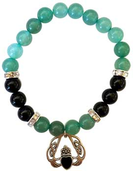 8mm Green Aventurine/ Black Onyx with Heart