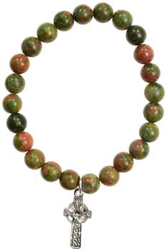 Unakite Faith Cross silver