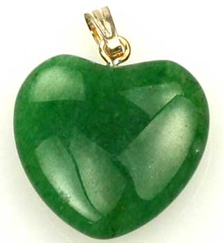 "3/4"" (20mm) Aventurine, green heart"