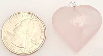 "1"" Rose Quartz heart"