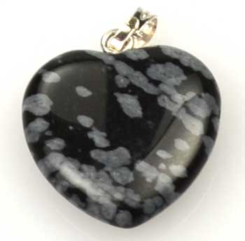 "3/4"" (20mm) Snow Flake Obsidian heart"