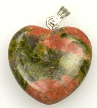 "3/4"" (20mm) Unakite heart"