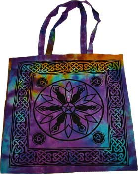 "18"" x 18"" Goddess Pentagram Triquetra tote bag"
