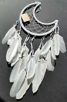 "8 1/2"" Half Moon white dream catcher"