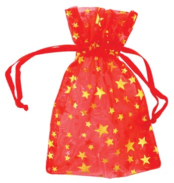 "2 3/4"" x 3"" Red organza w/ Gold Stars"
