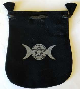 Triple Moon & Pentagram Velveteen Black Bag 5""
