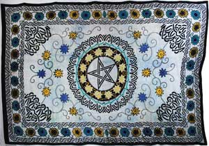 "Flower Pentagram Tapestry (72"" x 108"")"